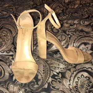 Tan Suede Ankle Strap Heels
